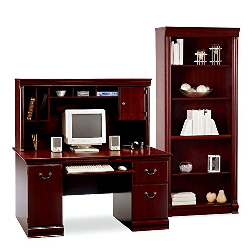 Computer Desk for Home Office Includes Hutch and Bookcase of Bush Birmingham Features File Drawers, Pullout Keyboard Shelf, Multiple Open Shelves and Storage Cubbies, Cherry Finish