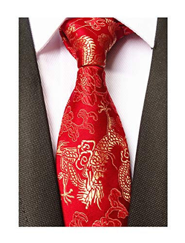 Mens Classic Red Gold Ties Dragon Paisley Jacquard Woven Party Handmade -
