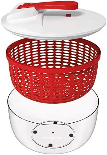 Vremi Large Salad Spinner - 6.3 Quart Capacity BPA Free Lettuce Vegetable Dryer with Lid and Colander Basket Insert - White Red Plastic 6 Liter Salad Spinner with Easy Spin Collapsible Locking Handle