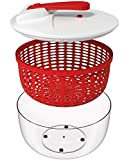 : Vremi Large Salad Spinner - 6.3 Quart Capacity BPA Free Lettuce Vegetable Dryer with Lid and Colander Basket Insert - White Red Plastic 6 Liter Salad Spinner with Easy Spin Collapsible Locking Handle