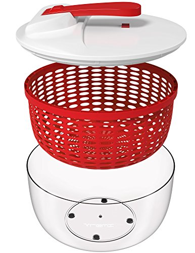 Gadgets Salad Spinner (Vremi Large Salad Spinner - 6.3 Quart Capacity BPA Free Lettuce Vegetable Dryer with Lid and Colander Basket Insert - White Red Plastic 6 Liter Salad Spinner with Easy Spin Collapsible Locking Handle)