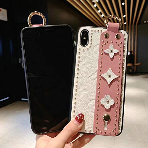 New Women Men Phone Case Fashion New Rivet Fashion Phone case Cover for iPhone 7plus 8plus 6Splus 6 7 8 X XS max Xr 6.5 inch 6.1 Wrist Strap case,Orange,for iPhone Xr orange iphone xr case 3