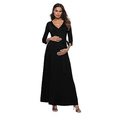 dadb46ef57962 Pregnant Dress,WensLTD Women's Pregnancy V Collar High Waist Dress Maternity  Waist Belt Long Dress