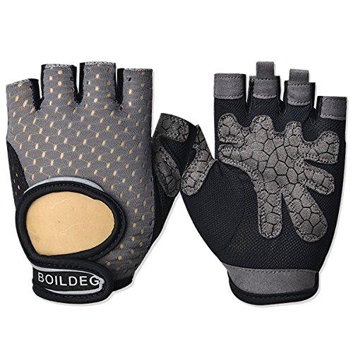 Anti-Slip Workout Gloves Designed for Men & Women Fitness Gloves Gym Gloves Weight Lifting Gloves Weight Training Gloves Weightlifting Gloves (Gray, L) ()