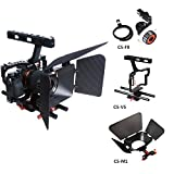 Commlite Comstar Aluminum Alloy Camera Cage Film Movie Making Kit System ,for Sony A9 A7 A7II A7r A7s II A6500 A6300, Panasonic GH4 GH3 (Video Cage+Top Handle Grip+15mm Rod+Matte Box+Follow Focus)