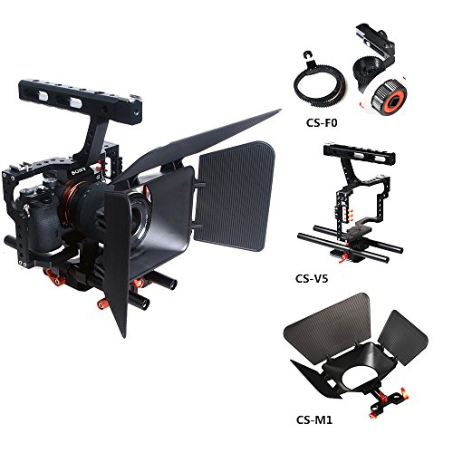 Commlite Comstar Aluminum Alloy Camera Cage Film Movie Making Kit System ,for Sony A9 A7 A7II A7r A7s II A6500 A6300, Panasonic GH4 GH3 (Video Cage+Top Handle Grip+15mm Rod+Matte Box+Follow Focus) by Commlite