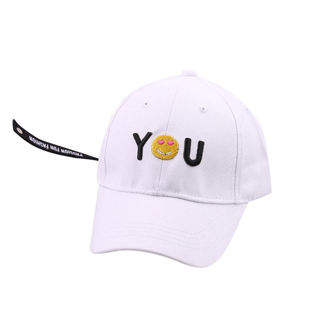 WARMSHOP Kids Children Solid Letter Embroidery Adjustable Baseball Peak Hats Sun Visors Popular For Boys and Girls (White)