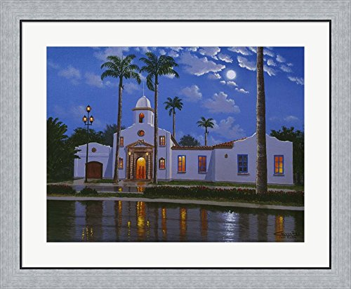 Boca Raton Town Hall, FL by Eduardo Camoes Framed Art Print Wall Picture, Flat Silver Frame, 32 x 27 - Raton Of Boca Town