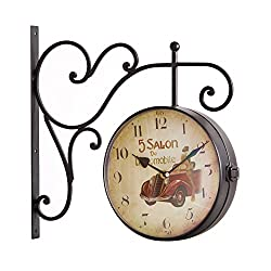 Joveco Iconic Railways Clock, Vintage Style With Scroll Wall Mount (5 Salon)