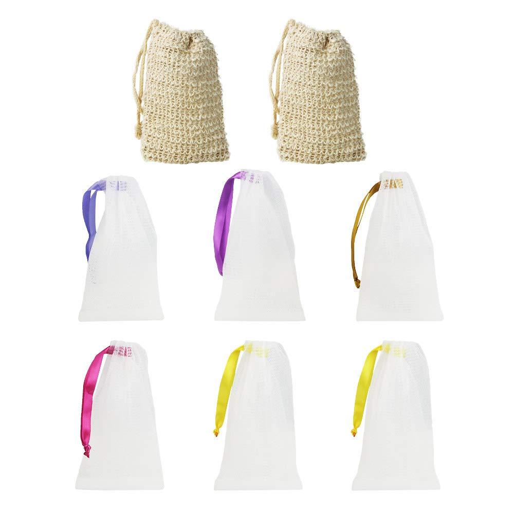 LYTIVAGEN Seifenbeutel aus Sisal, Bio Seifensäckchen, Nylon Seifennetz (BPA-frei) Seifentasche zum aufschäumen und trocknen der Seife(2 Sisal, 6 Nylon) Bio Seifensäckchen