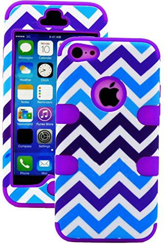 myLife Bright Purple + Blue and White Chevron 3 Layer (Hybrid Flex Gel) Grip Case for New Apple iPhone 5C Touch Phone (External 2 Piece Full Body Defender Armor Rubberized Shell + Internal Gel Fit Silicone Flex Protector)
