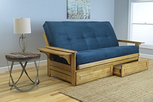 Phoenix Full Size Sofa Futon and Drawer Set, Butternut Wood Frame and Suede Innerspring Mattress, Navy