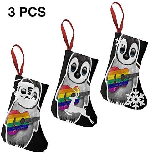 クリスマスの日の靴下 (ソックス3個)クリスマスデコレーションソックス ギター ペンギン クリスマス、ハロウィン 家庭用、ショッピングモール用、お祝いの雰囲気を加える 人気を高める、販売、プロモーション、年次式