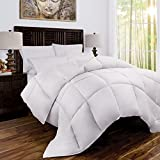 Alternative Comforter - Zen Bamboo Luxury Goose Down Alternative Comforter - All Season Hotel Quality Hypoallergenic Duvet Insert with Cooling Bamboo Blend Fabric - Full/Queen - White
