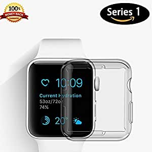 Apple Watch 1 Screen Protector, iwatch Case TPU All-around 0.3mm Ultra-thin Cover for Apple Watch Series 1 38mm (2015) (38 mm)