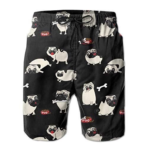 Feimao Cute Cartoon Pugs Mens Board Shorts Summer Casual Swim Trunk with Pockets
