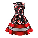 Women Dress, Gillberry Women's Vintage O-Neck Printed Party Retro A-Line Swing Dress