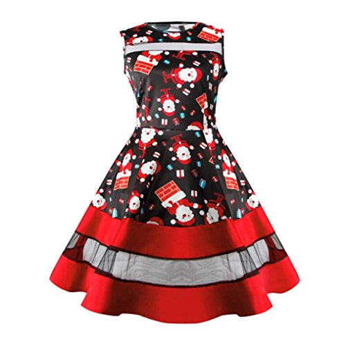 Women Dress, Gillberry Women's Vintage Christmas O-Neck Printed Party Retro A-Line Swing Dress (C, - Skort Skirt Striped