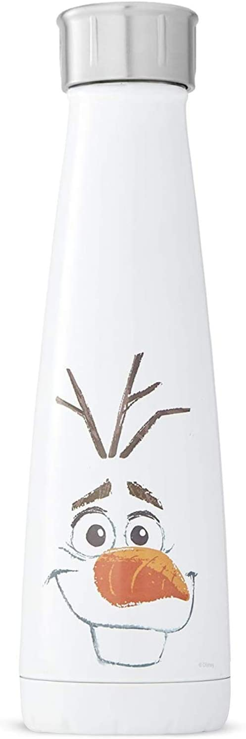 S'well Stainless Steel 15 Fl Oz-Cheerful Olaf-Double-Layered Vacuum-Insulated Food and Drinks Cold and Hot-with No Condensation-BPA-Free Water Bottle, 15oz