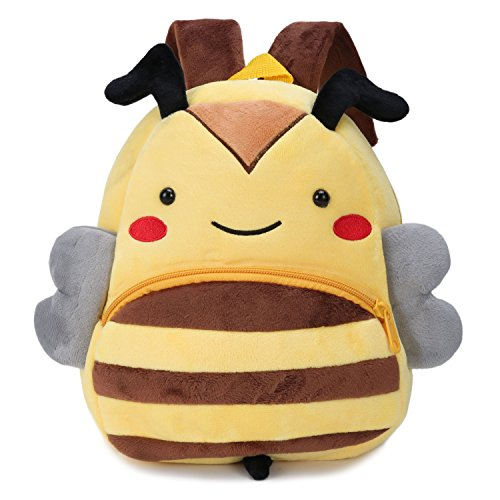 Cute Small Toddler Backpack for Girl Boy Kids Plush 3D Animal Cartoon Mini Preschool Bag for Children Age 1-5 Years Old (Yellow Bee)