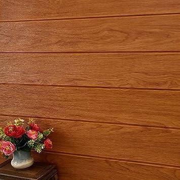 YUELA Montaje de pared 3D de espuma de grano de madera tapiz Autoadhesivas Salón Dormitorio vestido de pared Pared techo paredes rayas gris [GRAIN] 70*70cm, gran