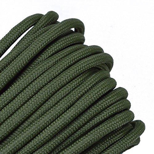 Bored Paracord - 1, 10, 25, 50, 100 Hanks & 250, 1000 Spools of Parachute 550 Cord Type III 7 Strand Paracord Well Over 300 Colors - Moss - 50 Feet