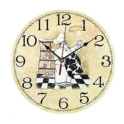 ChezMax 12 Vintage European Creative Frameless Wooden Electronic Wall Clock DIY Assembling Clock Chef