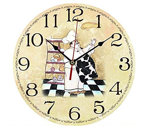 ChezMax 12″ Vintage European Creative Frameless Wooden Electronic Wall Clock DIY Assembling Clock Chef