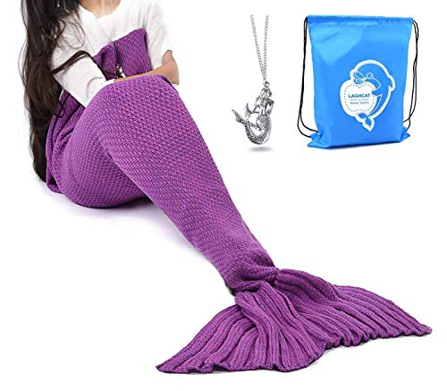 (LAGHCAT Mermaid Tail Blanket Crochet Mermaid Blanket for Adult, Soft All Seasons Sleeping Blankets, Classic Pattern - 71x35.5 Inch, Violet)