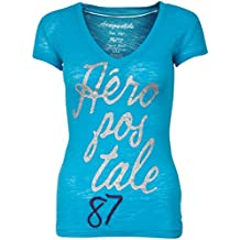 Aeropostale Women Sheer Fitting Tshirt (Large, Light Blue)