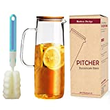 DOKEFUL Borosilicate Glass Pitcher 38oz Water Glass Carafe, Cold Brew Coffee Maker with Bamboo Lid - Refrigerator Storage - Perfect for Homemade Juice & Iced Tea