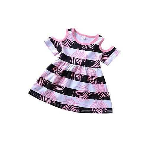 8bbda4cc0 Outlet RENQINGLIN Las Niñas Diariamente Rayas Vacaciones Imprimir El Bloque  De Color Vestidos Primavera Verano De