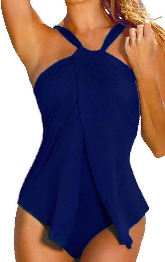 cc02c34a46 BYWX-Women One Piece Swimsuit Halter Wrap Split Front Monokini Beach Bikini  at Amazon Women s Clothing store