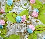 White Lace Fabric Satin Applique Wedding Floral Pick Pink Satin Rose Flower Trim Craft Diameter 30 Mm. 25 Pcs.