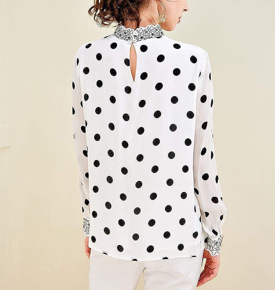E-girl E6901 Women Silk Top Stand Collar Long Sleeve Slim Shirt Silk Shirt Top White