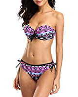 ATTRACO Two Piece Swimsuits for Women Strapless Swimsuit Tribal Bikini Set L