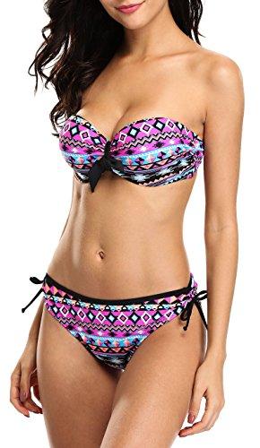 - Attraco strapless bikinis set tie side bikini underwire bikini swimwear,Aztec - Purple,US 12-14/XXL