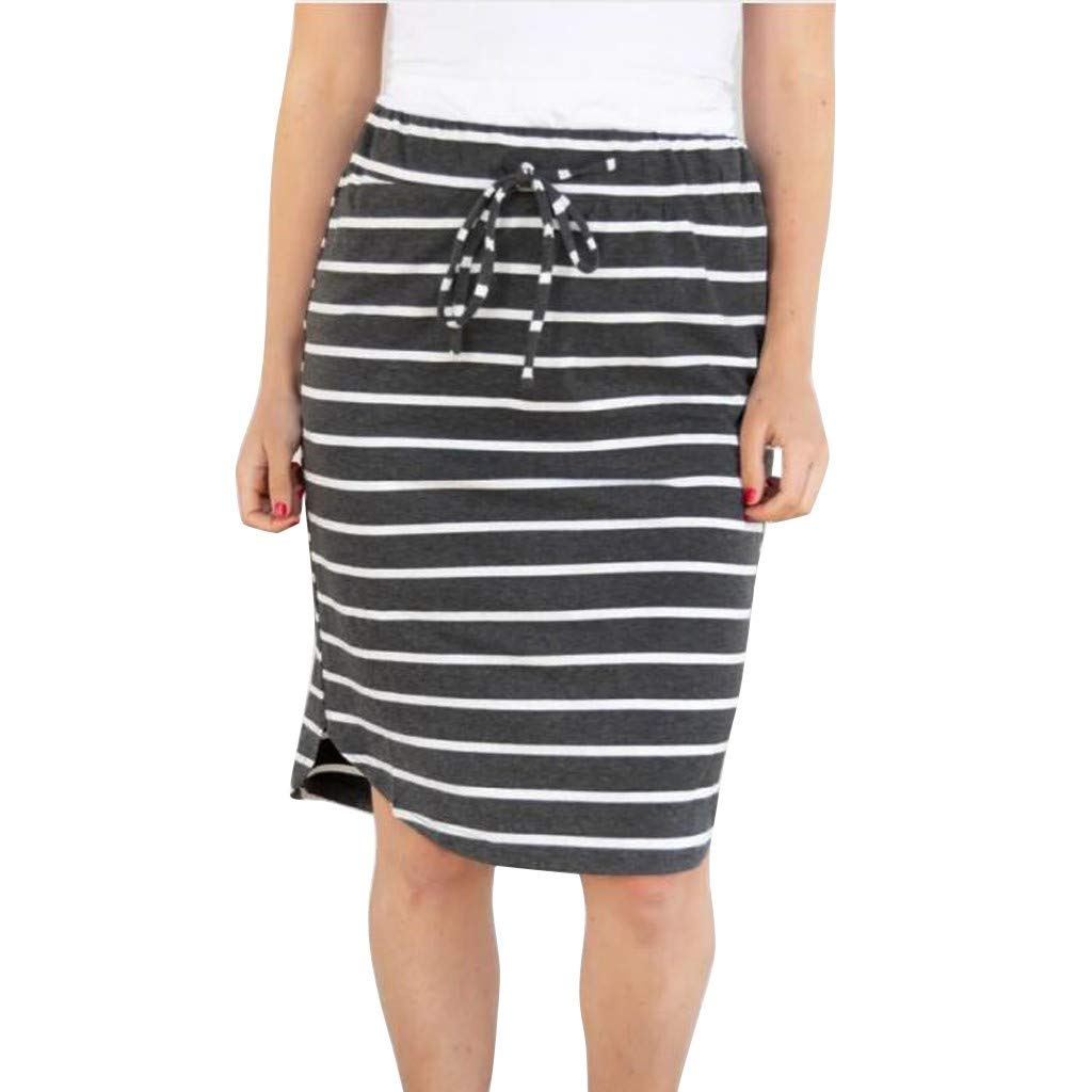Stripe Short Skirt for Women Knee Length Casual Striped Skirts Summer Elastic by LISTHA