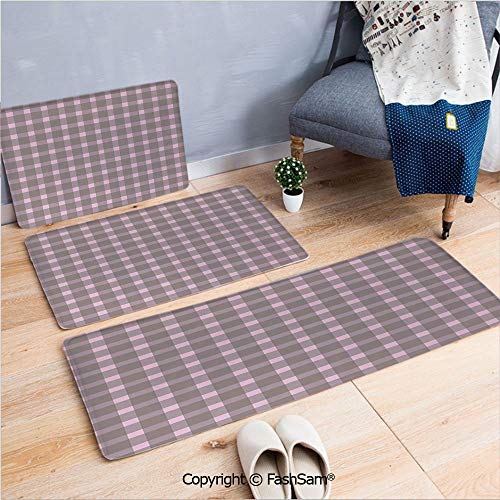 3 Piece Non Slip Flannel Door Mat Ornate Checkered Squares Pattern Vintage Color Palette Abstract Retro Motifs Decorative Indoor Carpet for bath Kitchen(W15.7xL23.6 by W19.6xL31.5 by - Ornate Cast Light Six