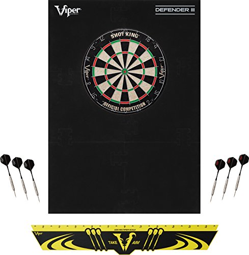 Viper Defender III Backboard & Sisal/Bristle Steel Tip Dartboard Bundle: Standard Set (Shot King Dartboard, Defender III Backboard, Edge Throw Line)