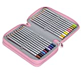 Tinksky 48 Slots Pencil Holder 3-layer Colored Pencil Stationary Box with Zipper