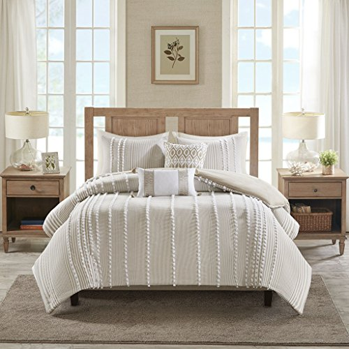 Harbor House Anslee Duvet Cover King Size - Taupe , Tufted Cotton Chenille Dots Duvet Cover Set - 3 Piece - 100% Cotton Percale Light Weight Bed Comforter Covers