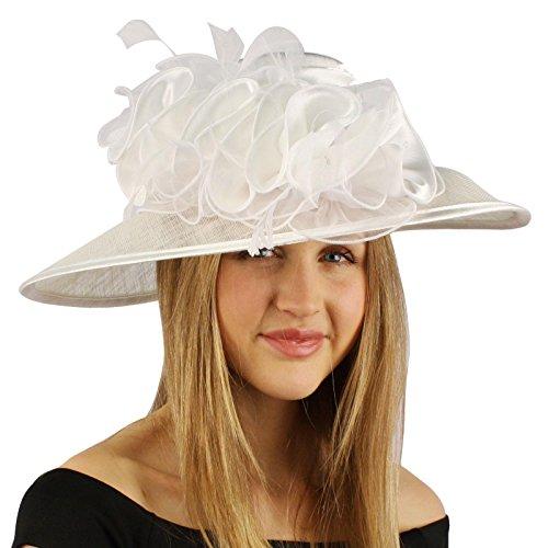 Satin Flat Top Feathers Ruffles Kentucky Derby Floppy Bucket Church Hat White (White Satin Top Hat)