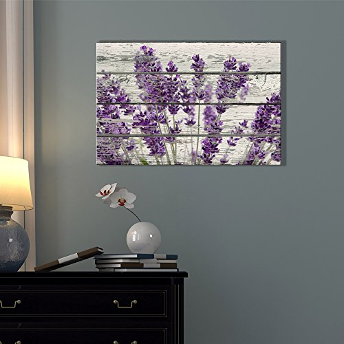 Wall26 rustic home decor canvas wall art retro style purple lavender flowers on vintage wood - Modern rustic wall decor ...