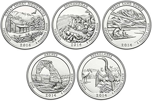 2014 S BU National Parks Quarters - 5 coin Set San Francisco Mint Uncirculated