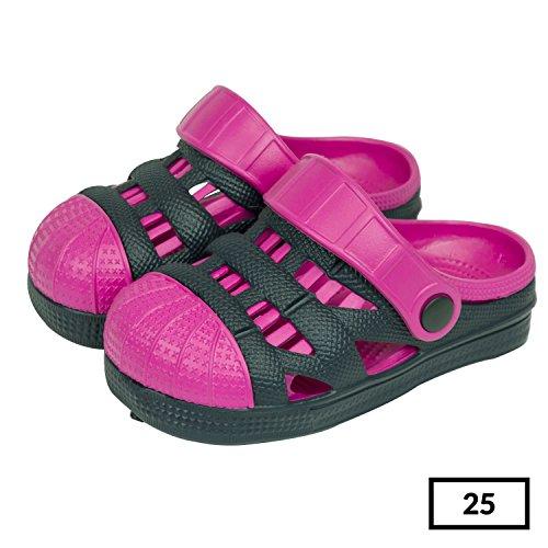 Sabot zoccoli slip on ciabatte in materiale EVA per bambini, taglia 25, colore: blu / rosa