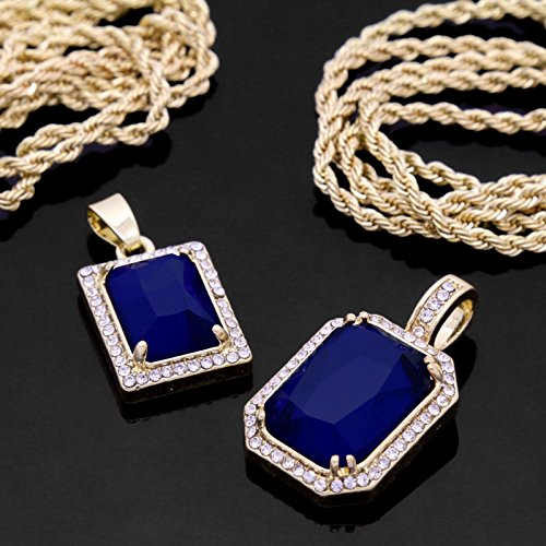 14k Gold Plated Iced Mini Blue Ruby Set w 2mm 24 & 30' Rope Chains w/ Grillz