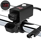 GoldenHawk Waterproof SAE to USB Charger Adapter Kit Cable 2.1A w/Power Switch, SAE Quick Disconnector, 7/8-1 1/8' Motorcycle ATV UTV for Smart Phone GoPro GPS Tablet (1 x USB w/Switch+Volt)