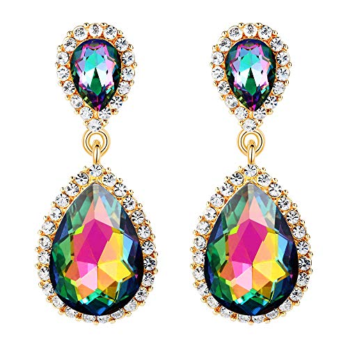 EVER FAITH Women's Austrian Crystal Prom Tear Drop Dangle Earrings Green AB Gold-Tone