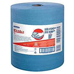 Wypall X80 Reusable Wipes (41043), Extended Use Cloths Jumbo Roll, Blue, 475 Sheetsroll; 1 Rollcase